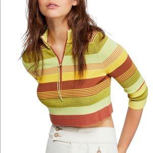 Free people Riptide retro Stripe Crop pullover
